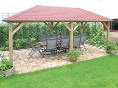 The Grande Open Gazebo measure and provides the perfect venue for summer parties in the garden. A large gazebo with rectangular roof and supported by six wooden posts. Manufactured using FSC certified, pressure treated timber and supplied with c Wooden Gazebo Kits, Wooden Garden Gazebo, Pergola Kits, Diy Gazebo, Backyard Gazebo, Gazebo Ideas, Design Jobs, Design Ideas, Large Gazebo