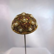 Antique Brass Dome, with Pink Enamel and Raised Pearl Stones Hatpin Hat Pin