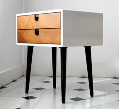 Nightstand / Bed SIde Table in Corian and Oak by Manuel Barrera, via Behance