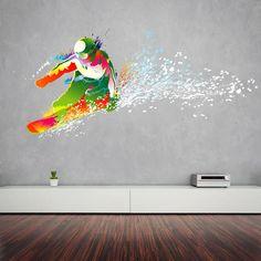cik116 Full Color Wall decal snowboarding snowboarder snow sport spray paint room Bedroom