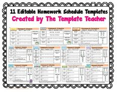 Homework Planner, Schedule, and Weekly Homework Sheet - Student ...
