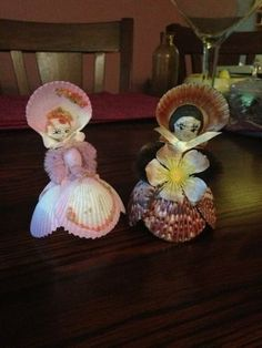 Sea Shell Doll Figurine Philippines Lot Of 2
