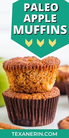 These paleo apple muffins are fuss-free and completely maple sweetened. They get extra apple flavor from grated and diced apples. Gluten Free Food List, Gluten Free Recipes For Breakfast, Gluten Free Muffins, Healthy Muffins, Paleo Baking, Paleo Bread, Paleo Diet, Baking Recipes, Keto