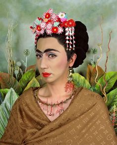 Yasumasa Morimura (b. June 11, 1951) is a Japanese appropriation artist. Yasumasa Morimura borrows images from historical artists (ranging from Edouard Manet to Rembrandt to Cindy Sherman), and inserts his own face and body into them… Yasumasa Morimura: An Inner Dialogue with Frida Kahlo (Hand Shaped Earring), 2001 - photograph (Brooklyn Museum)