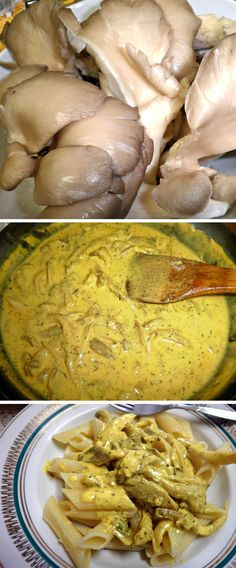 Penne with mushrooms, thyme and turmeric  Add white fish, sm amt chicken or tofu for protein.