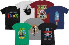It's WE LOVE FINE WEDNESDAY!… and we love that The Avengers is out on Blu-Ray and DVD!    So much that for today's giveaway, it's ANY Avengers tee in our shop! Mens and women's tees, our various contest winners - all of 'em, your choice if you are the lucky winner! Just repin this post and you're entered! (T-shirts only; excludes bags, hoodies and prints.)    Repin and WIN!!!