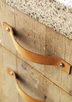 i love leather drawer pulls, we could so do this ourselves!