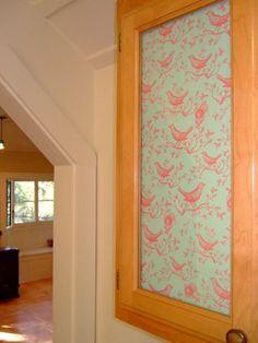How To Cover Glass Cabinet Doors With Fabric | Glass doors, Doors ...