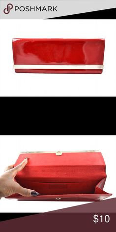 Aldo Red Patent Clutch Red Aldo patent leather clutch with silver trim and chain. Aldo Bags Clutches & Wristlets