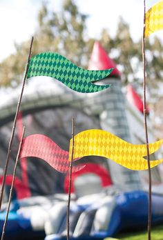 Make these large out of cardboard!! DIY Medieval Flags (those are twigs!) [more at pinterest.com/eventsbygab]
