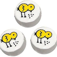 Luxury  Custom 14mm w Approx 3mm Hole of 25 Individual Loose Medium Size Flat Round Circle Beads Made of Genuine Ceramic w Baby Chick Bird Farm Animal Flat Disc Design White Yellow  Black -- Click image for more details.