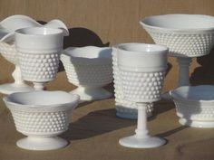 vintage Westmoreland milk glass American hobnail compotes, goblets, ivy bowls