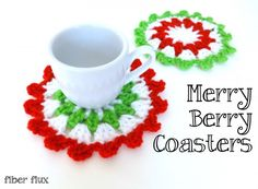#Crochet #Christmas Coasters free pattern from @fiberflux for Skip to My Lou (@cindyhopper)