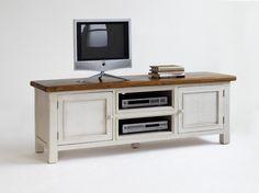 TV Kommode Astrid passend zum Möbelprogramm Astrid 1 x TV Kommode mit 2 Türen 2 Einlegeböden und 2 Receiverfächer Material: Recycle - Kiefer weiß / honigfarbig...