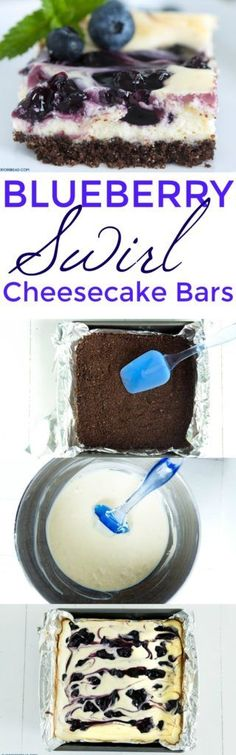 Blueberry Swirl Chocolate Cheesecake Bars ~ I love the unique idea of combining classic blueberry and cheesecake flavors with chocolate!