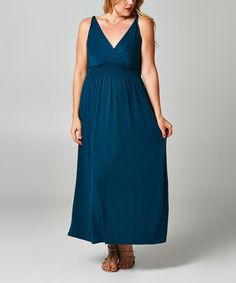 Another great find on #zulily! Dark Teal Shirred Maxi Dress - Plus by Christine V #zulilyfinds