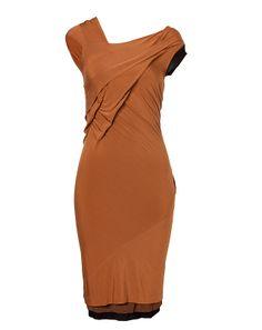 DONNA KARAN Copper asymmetric Detailed Draped Dress
