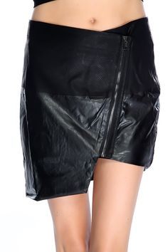 Dress up in this sexy mini skirt it features; faux leather, reptile skin textured, zip up closure, uneven hem, and fitted.