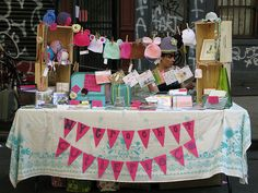 craft show display, via Flickr.  tablecloth