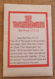 Transfiguration of Jesus Review Activity idea