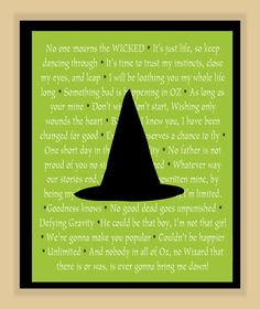Wicked Musical Quotes modern print poster 11x14