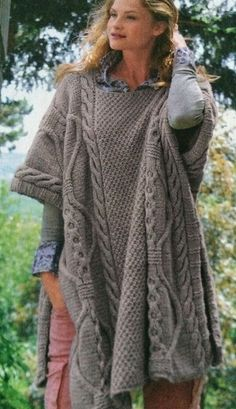 Ladies Long Cable Poncho Knitting Pattern in Crafts, Crocheting & Knitting…