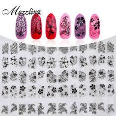 جديد 3d الأسود الزهور مسمار ملصقات الشارات ، 108 قطع/ورقة أعلى جودة معدني مختلط تصاميم لاصق diy مسمار فن الديكور أداة