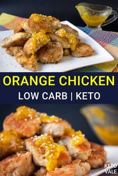 Keto Orange Chicken Low Carb Recipe via How To Make Cornmeal, Pasta Recipes, Diet Recipes, Chicken Recipes, Zucchini, Stuffed Peppers With Rice, Keto Fried Chicken, Avocado Pasta, Healthy Breakfast Options