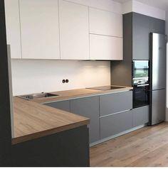 Kitchen Room Design, Home Room Design, Modern Kitchen Design, Living Room Kitchen, Interior Design Kitchen, Latest Kitchen Designs, Handleless Kitchen, Modern Kitchen Interiors, Kitchen Remodel