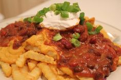 "Vegan Chili Cheese Fries-homemade ""cheese"" sauce(not for those who use  use real cheese) and vegetarian chili...looks like a good recipe"