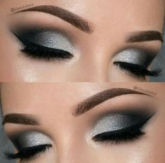 Love this silver and black smokey eye makeup look. This is perfect for a holiday party. #silver #black #smokeyeye #makeup #eyes #holidays