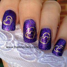 Purple glitter heart nails