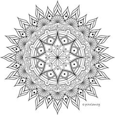 Ink doodle for coloring. Ink Doodles, Doodle Art, Drawing S, Mandala, Coloring, Symbols, Instagram Posts, Icons, Mandalas