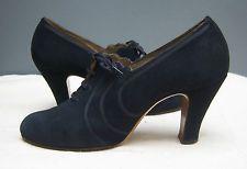 Original Vtg 1930s 40s WW2 Navy Blue Suede Shoes Lace Up Deco Heels Swing UK 5