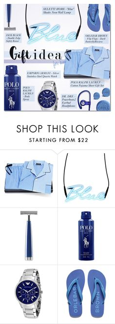 """""""ENJOY IT"""" by larissa-takahassi ❤ liked on Polyvore featuring Ralph Lauren, Seletti, Jack Black, Emporio Armani, Orlebar Brown, Beats by Dr. Dre, men's fashion, menswear, gift and Blue"""