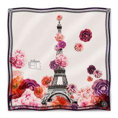 Foulard Tour Eiffel Fleurs Women scarf made in France. Washable at 30 ° C. Dimensions: 70 x 70 cm.