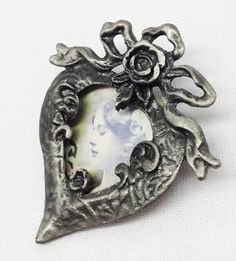 My Second-Hand Attic: Victorian Heart shaped Pewter Brooch