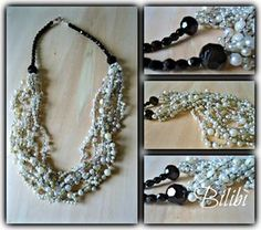 Bilibì: Black and white: refashion collana - I think it's in Italian, but I like the pearls on black thread - really neat look, and good pictures.