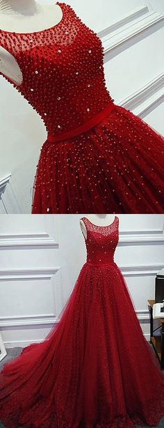 Burgundy Princess Style Prom Dress with Pearls, Prom Dresses, Graduation Party Dresses, Formal Dress For Teens, BPD0256