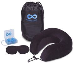 Everlasting Comfort Pure Memory Foam Neck Pillow Airplane Travel Kit With Ultra Plush Velour Cover, Sleep Mask and Earplugs -- You can find out more details at the link of the image. (This is an affiliate link)
