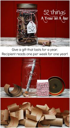 52 Things A Year In A Jar: Give a gift that lasts all year. This gift takes more creativity than money! #giftsinajar #masonjar #giftidea