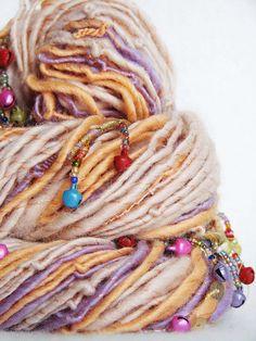 Hand Spun Art Yarn Gungan 72 yds 110 gm by EarthMantraBazaar Spinning Wool, Hand Spinning, Yarn Inspiration, Yarn Stash, Knitting Yarn, Knitting Ideas, Yarn Projects, Hand Dyed Yarn, Art Yarn