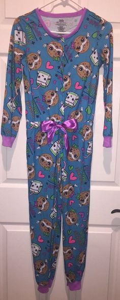 Justice Girls One Piece Union Suit Pajamas LN Cookie Milk BFF 12 PJS HTF!  CUTE f8a2cb84b