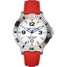 Nautica A12567G Gents BFD Flag Watch Silver Tone Red Strap Date 100M UK Seller | eBay