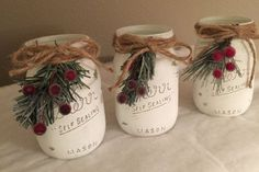 Christmas Mason jars/Rustic Christmas decorations Set of 3 chalk painted Mason jars will make a beautiful Christmas centerpiece on your mantle or Holiday table. These painted jars also make great Christmas gifts for holiday parties! Fill with fresh cut or Mason Jar Christmas Decorations, Christmas Table Centerpieces, Christmas Jars, Christmas Home, Christmas Holidays, Jar Centerpieces, Christmas 2019, Homemade Christmas, Christmas Trees