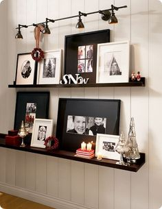 DIY Pottery Barn Inspired Wall Display Shelves - Top 10 Best Ways to Display Family Photos Display Shelves, Wall Shelves, Display Ideas, Ledge Shelf, Display Photos, Photo Ledge Display, Photo Displays, Display Wall, Ikea Shelves