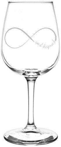 And Beyond | Ribbon Style Infinity Symbol Inspired - Laser Engraved Libbey Wine Glass.  Full Personalization available!  Fast Free Shipping & 100% Satisfaction Guaranteed.  The Perfect Gift!