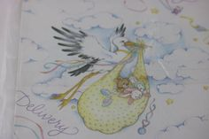 Vintage Wrapping Paper, Baby Shower Gift Wrap, Baby Wrapping Paper, Baby Gift Wrap, Special Delivery,  Baby Scrapbooking Paper, Stork by SecondActShop on Etsy