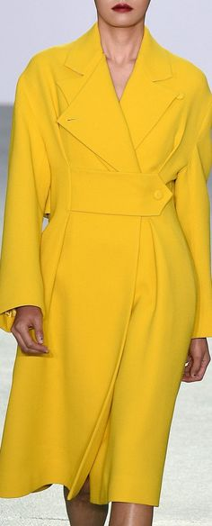 J. JS Lee Beautiful Outfits, Cool Outfits, Mellow Yellow, Yellow Coat, Yellow Fashion, Shades Of Yellow, Fashion Details, Couture Fashion, Look