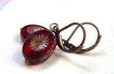 Vintage Earrings Red Czech Glass Earrings by stonehorsedesigns, $16.00